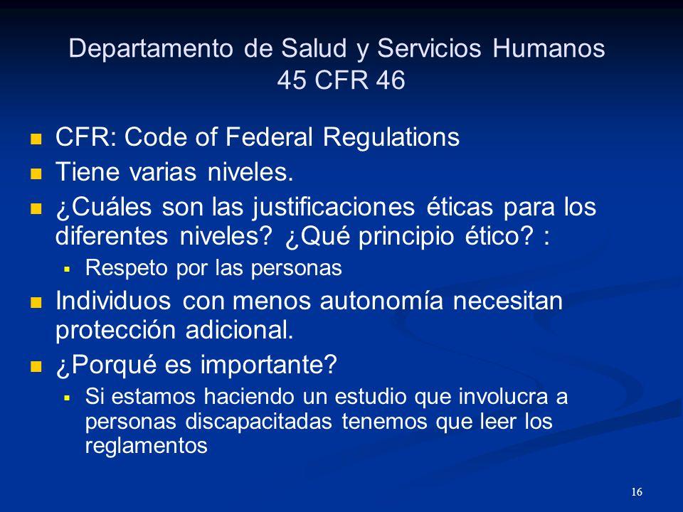 Departamento de Salud y Servicios Humanos 45 CFR 46