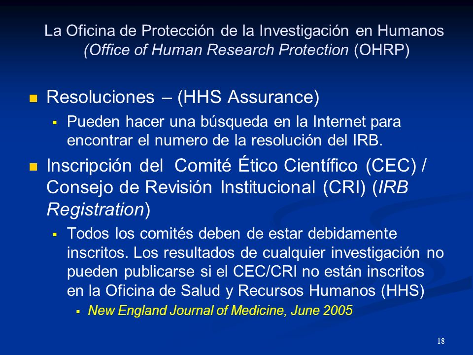 Resoluciones – (HHS Assurance)