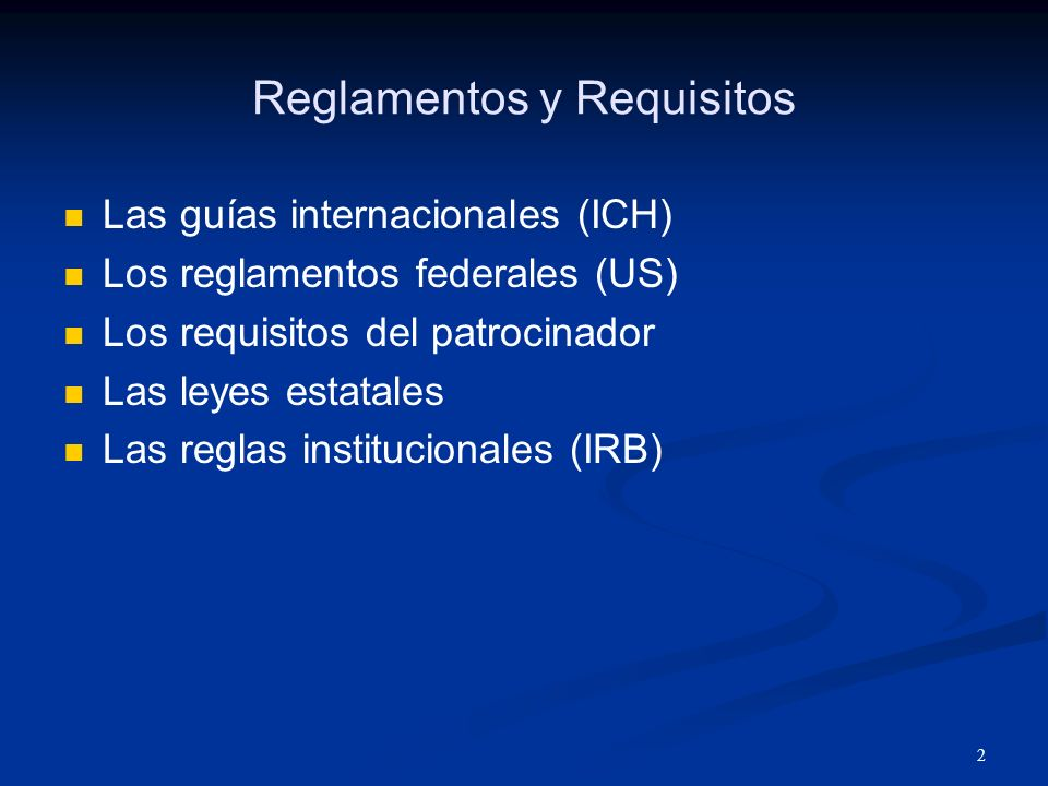 Reglamentos y Requisitos