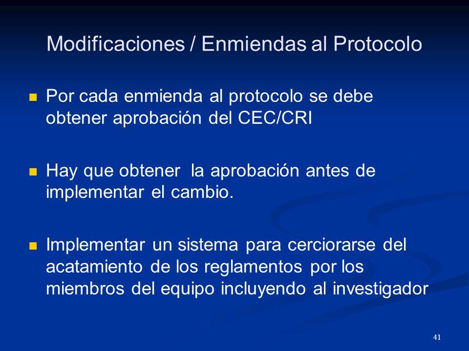 Modificaciones / Enmiendas al Protocolo