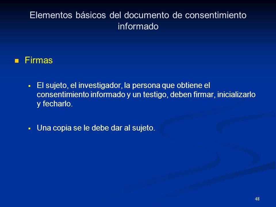 Elementos básicos del documento de consentimiento informado