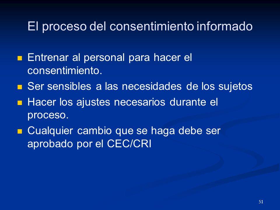 El proceso del consentimiento informado