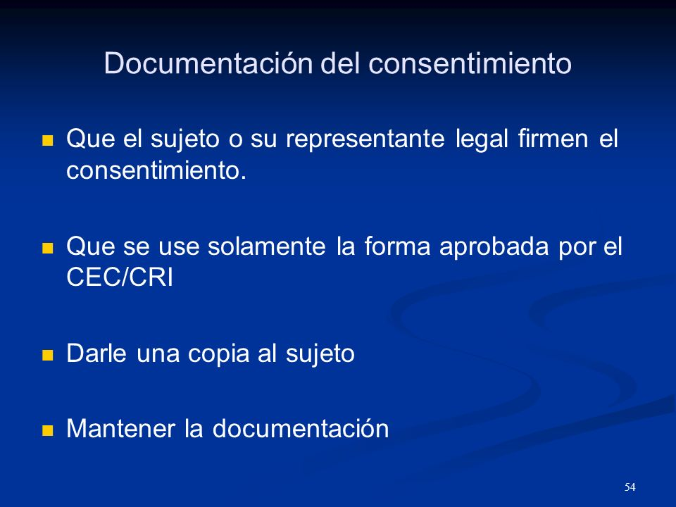 Documentación del consentimiento