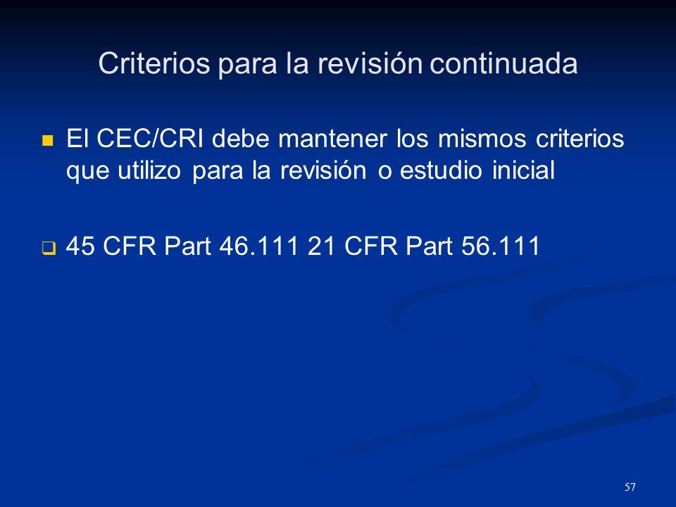 Criterios para la revisión continuada