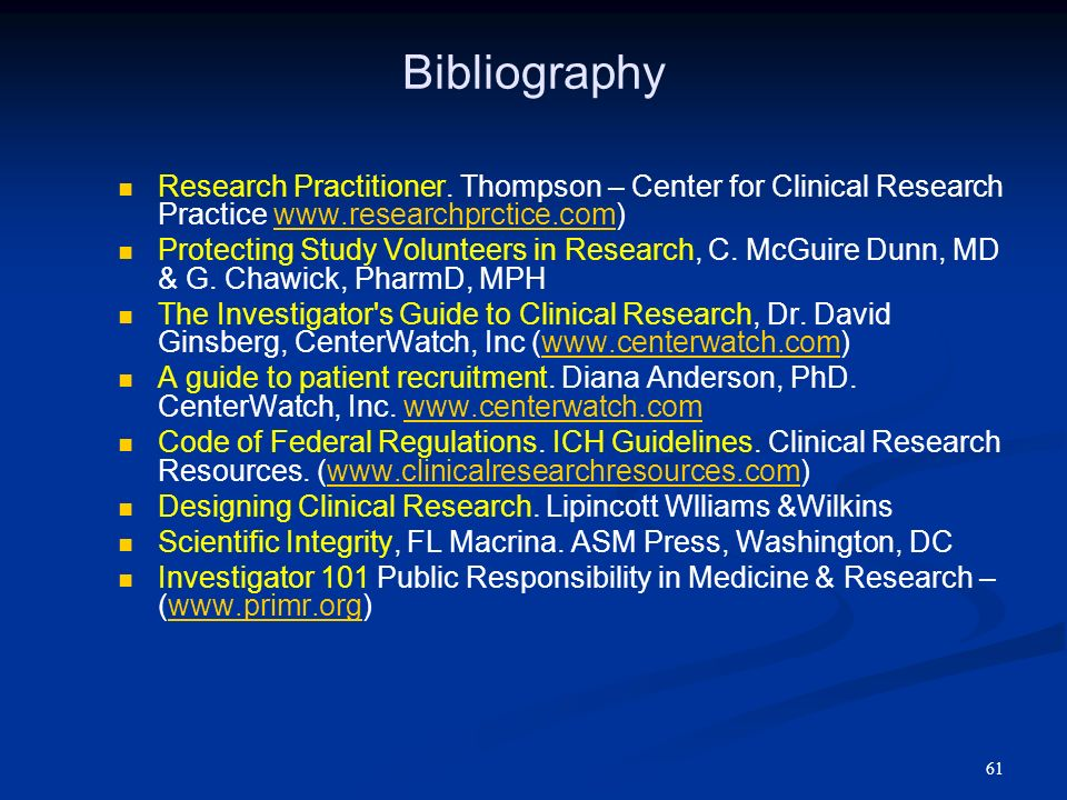 BibliographyResearch Practitioner. Thompson – Center for Clinical Research Practice www.researchprctice.com)