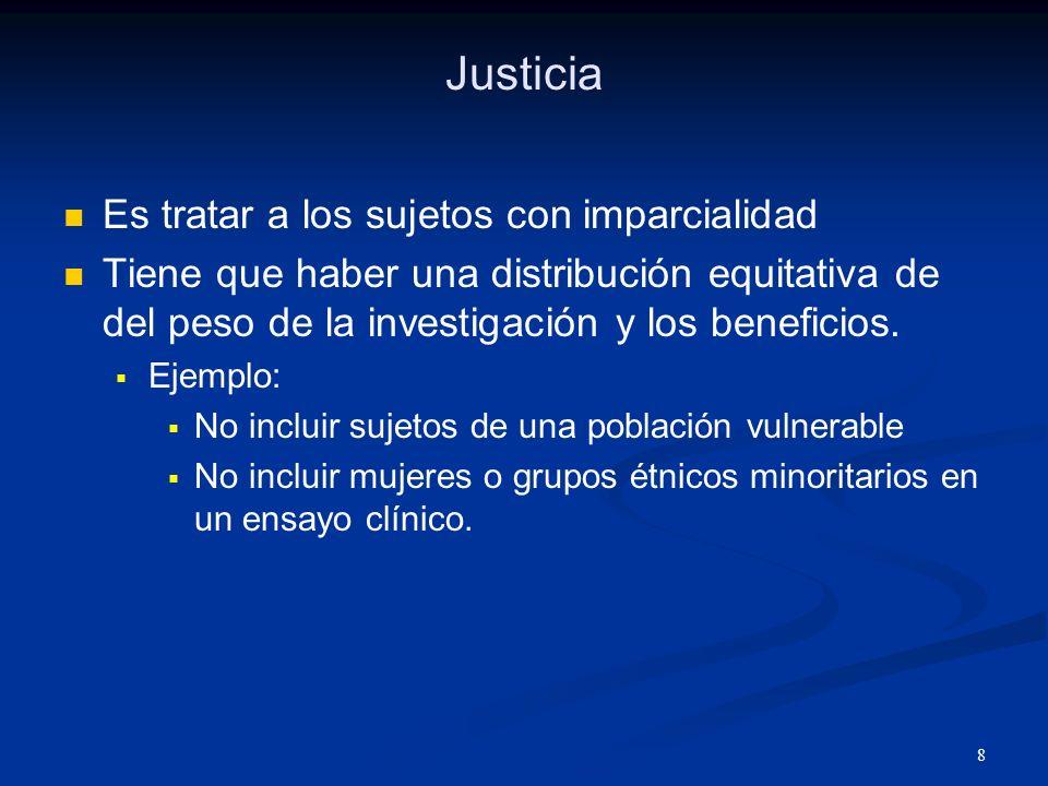 Justicia Es tratar a los sujetos con imparcialidad