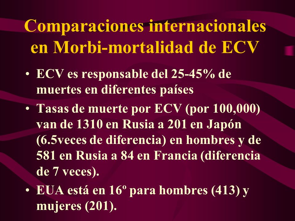 Comparaciones internacionales en Morbi-mortalidad de ECV
