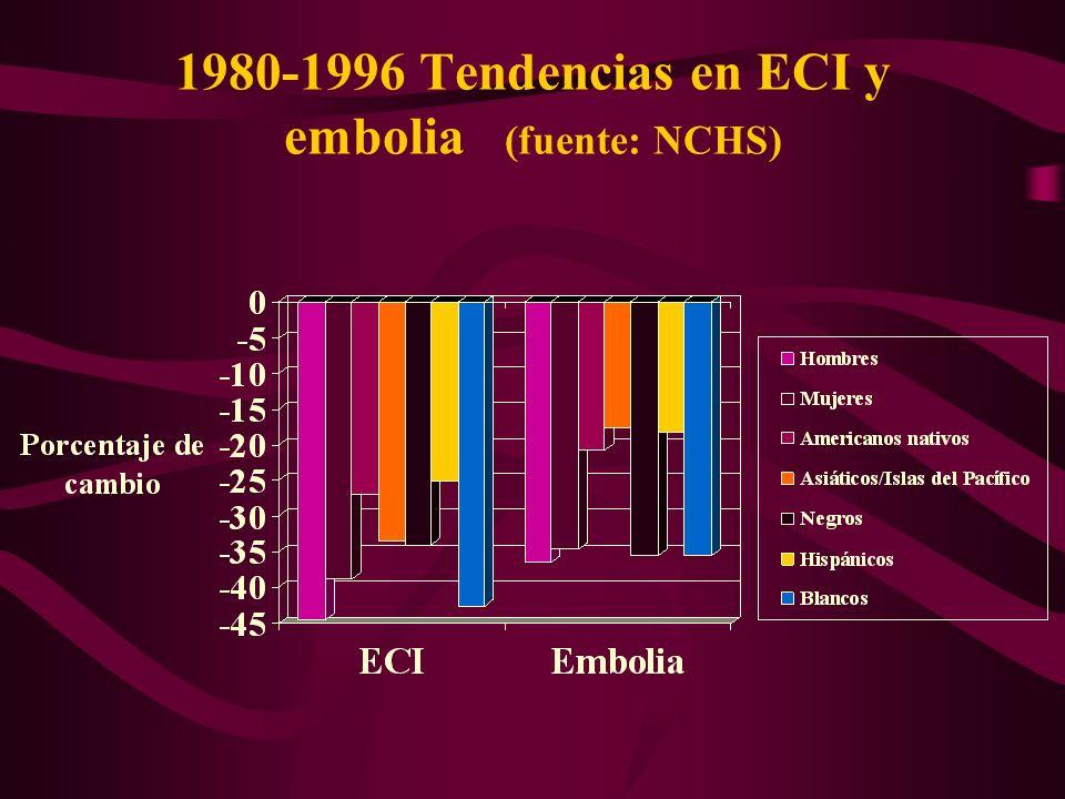 1980-1996 Tendencias en ECI y embolia (fuente: NCHS)
