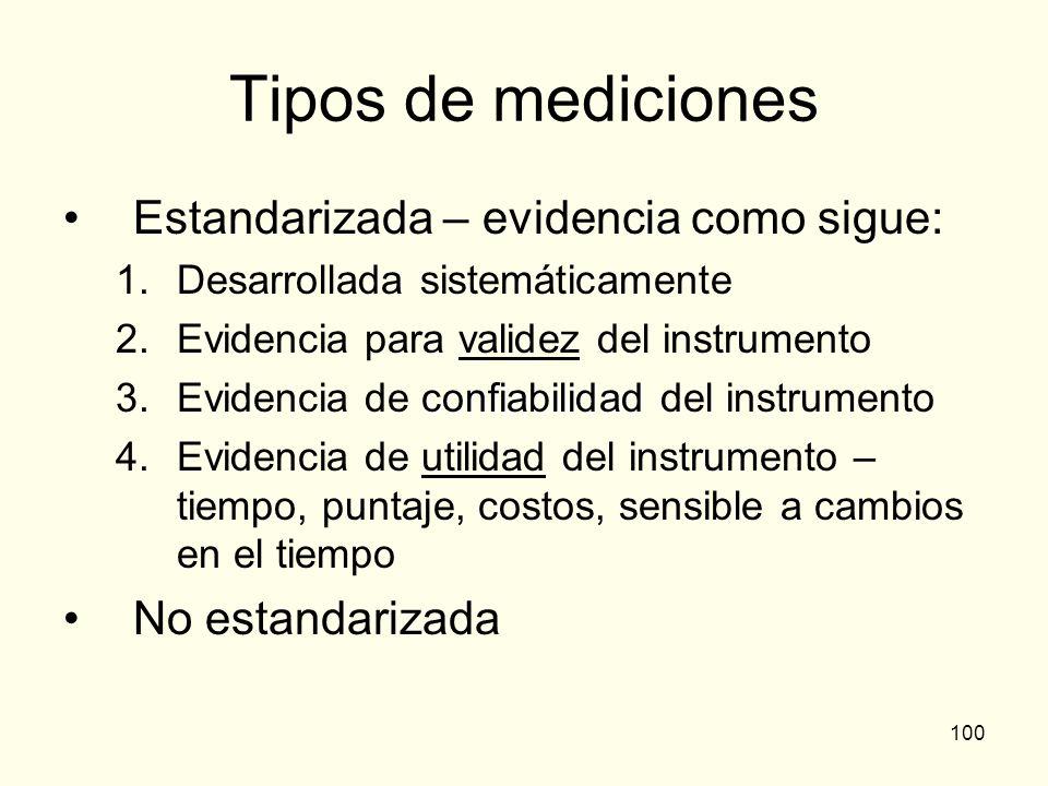 Tipos de mediciones Estandarizada – evidencia como sigue: