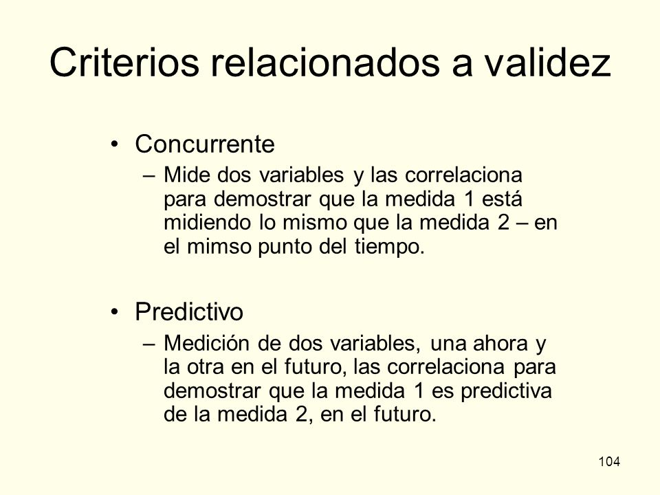 Criterios relacionados a validez