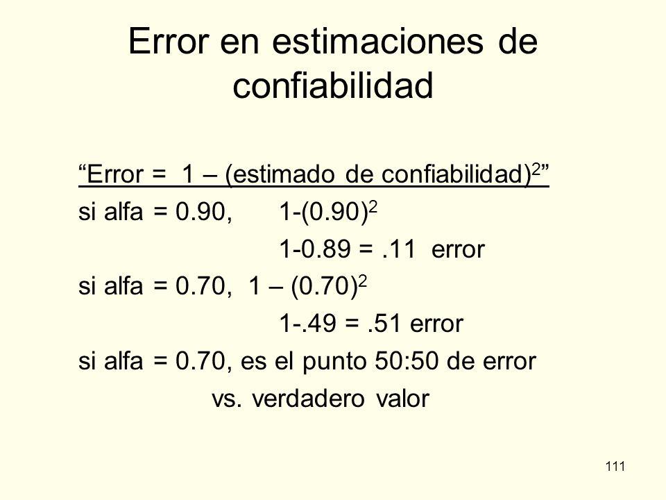 Error en estimaciones de confiabilidad