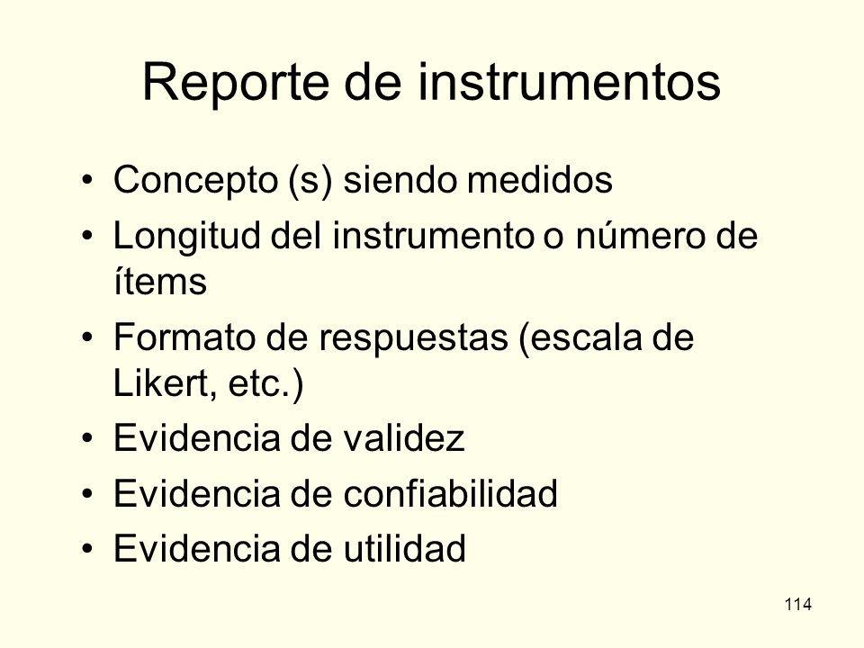 Reporte de instrumentos