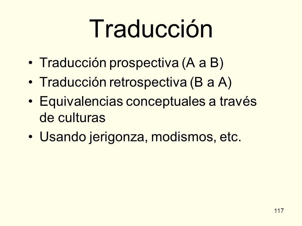 Traducción Traducción prospectiva (A a B)