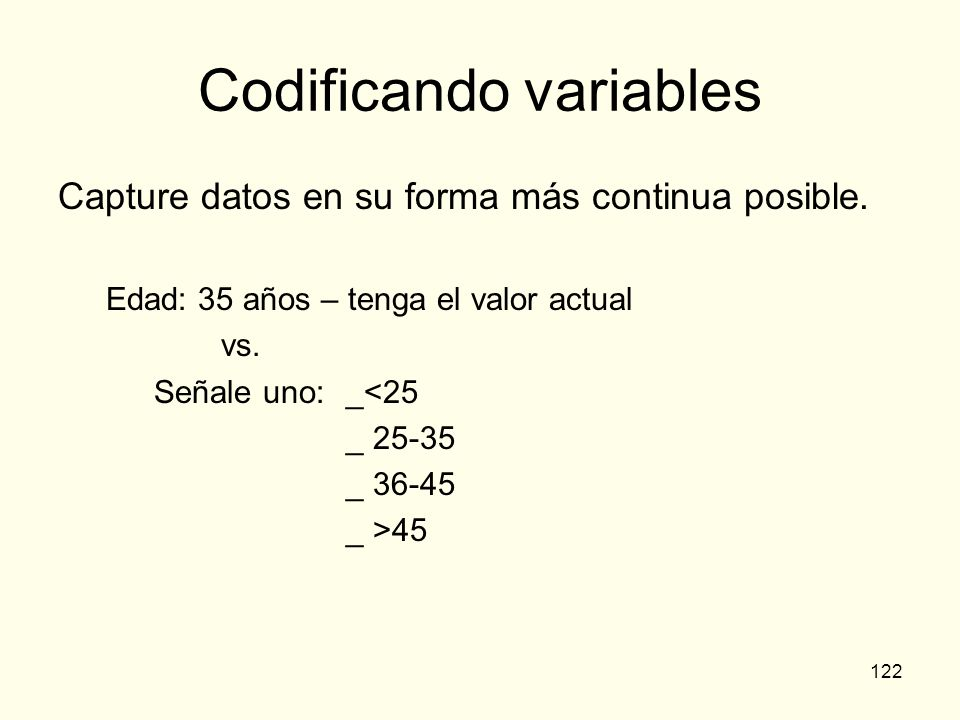 Codificando variables