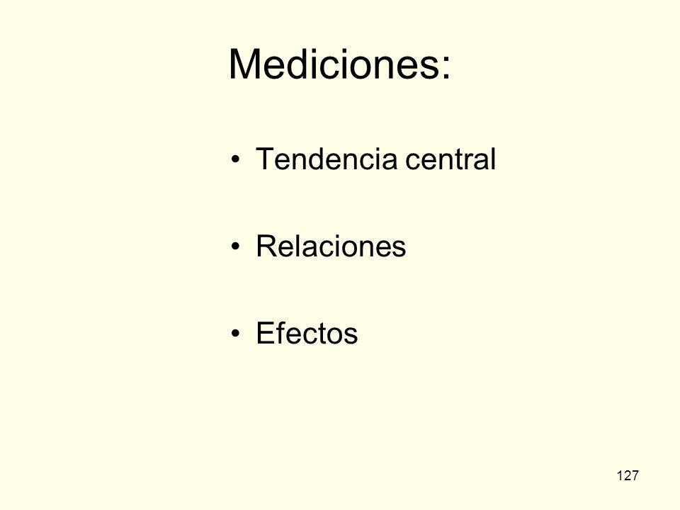 Mediciones: Tendencia central Relaciones Efectos
