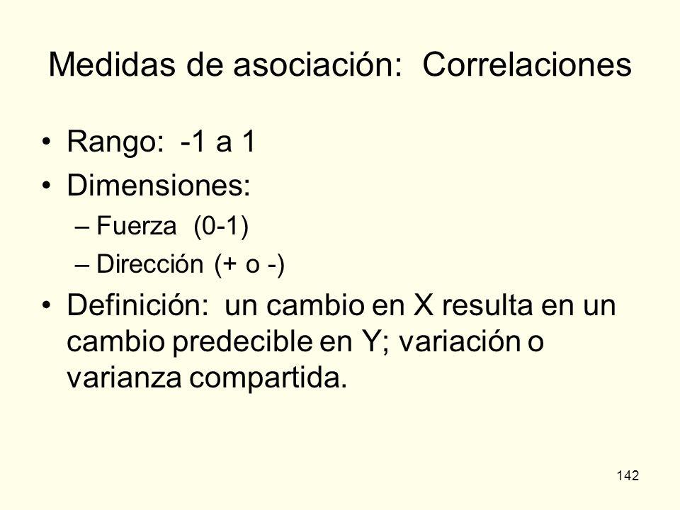 Medidas de asociación: Correlaciones