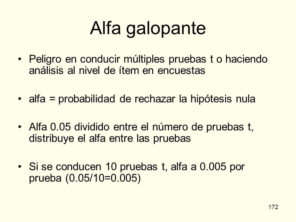 Alfa galopante Peligro en conducir múltiples pruebas t o haciendo análisis al nivel de ítem en encuestas.