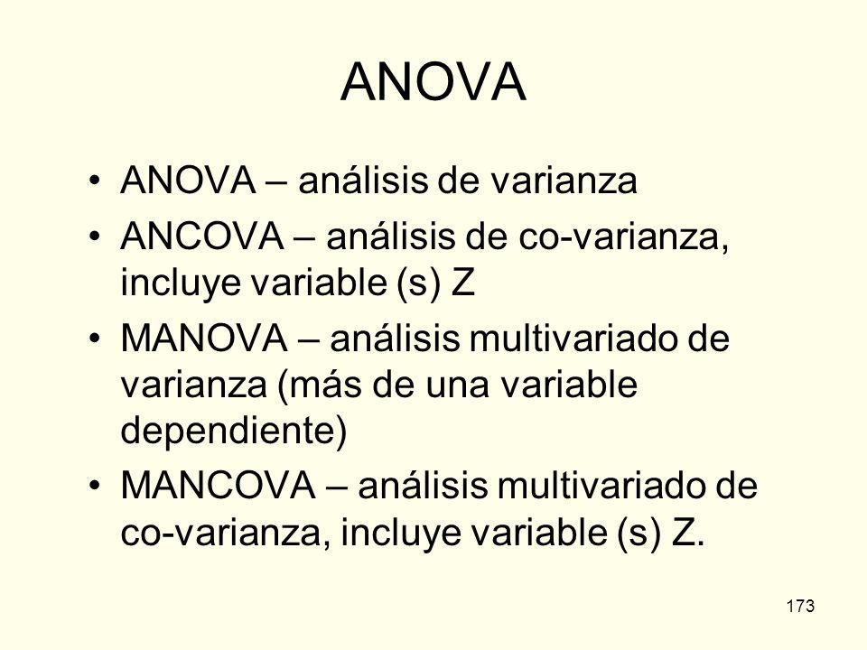 ANOVA ANOVA – análisis de varianza