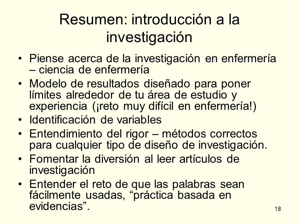 Resumen: introducción a la investigación