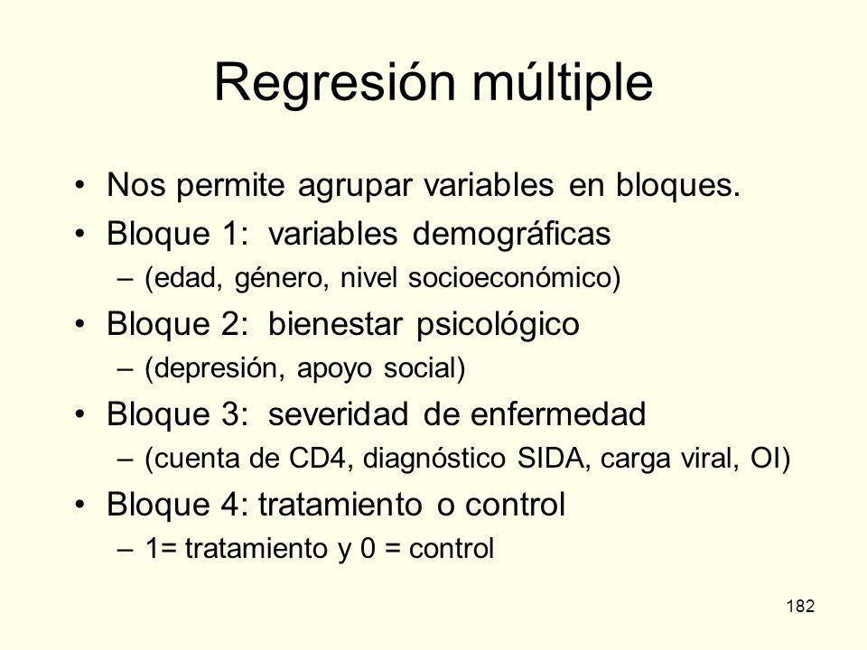 Regresión múltiple Nos permite agrupar variables en bloques.