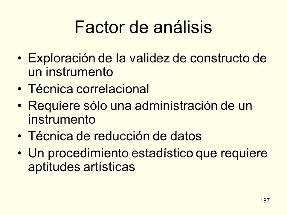 Factor de análisisExploración de la validez de constructo de un instrumento. Técnica correlacional.