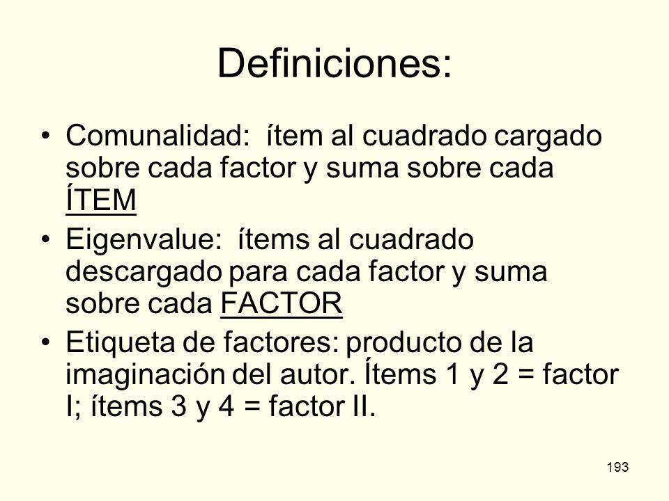 Definiciones: Comunalidad: ítem al cuadrado cargado sobre cada factor y suma sobre cada ÍTEM.