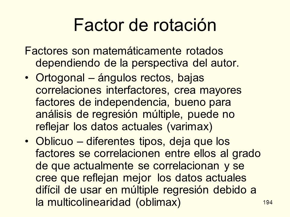 Factor de rotación Factores son matemáticamente rotados dependiendo de la perspectiva del autor.