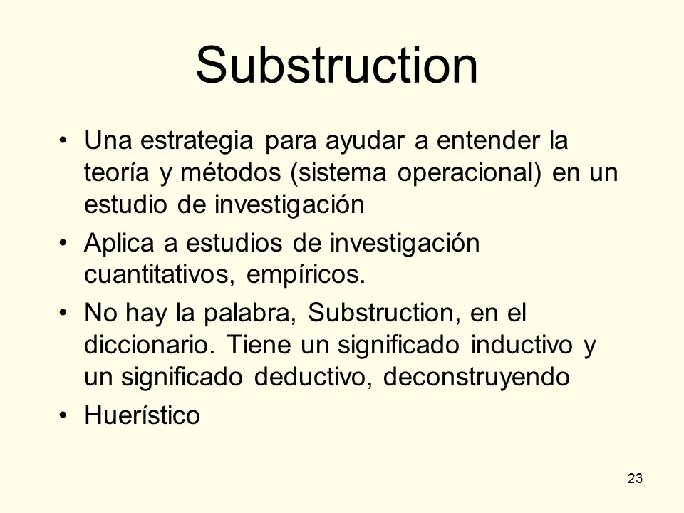Substruction Una estrategia para ayudar a entender la teoría y métodos (sistema operacional) en un estudio de investigación.