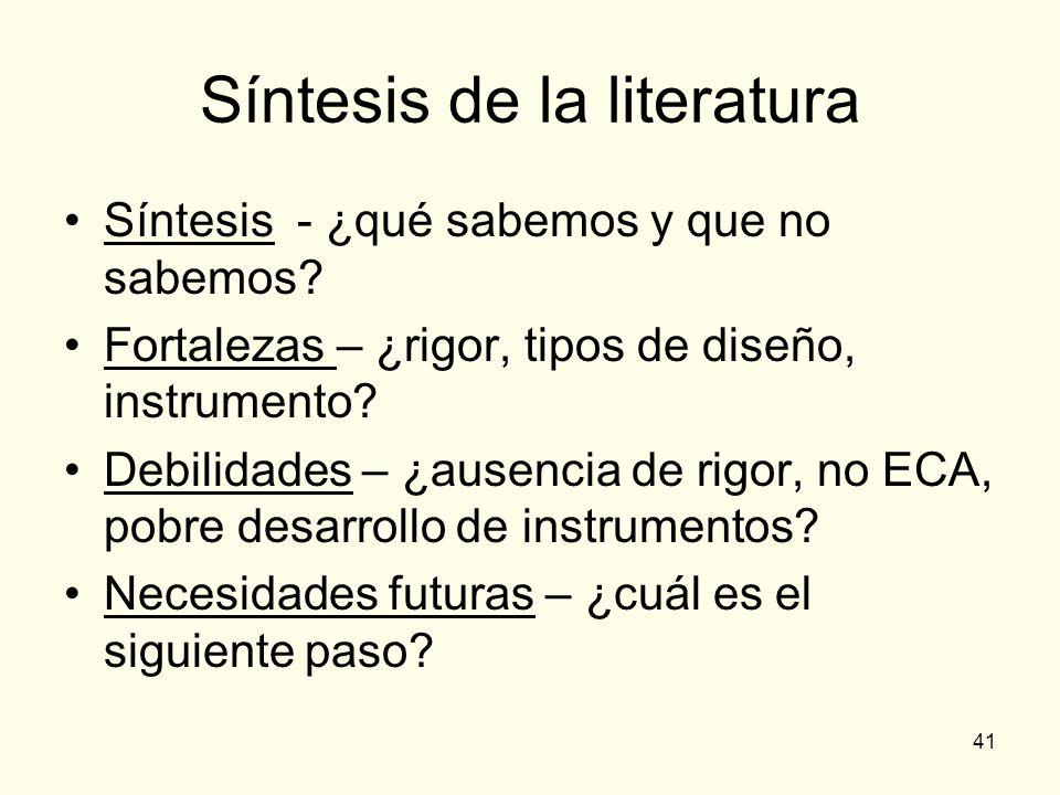Síntesis de la literatura