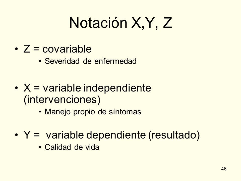 Notación X,Y, Z Z = covariable