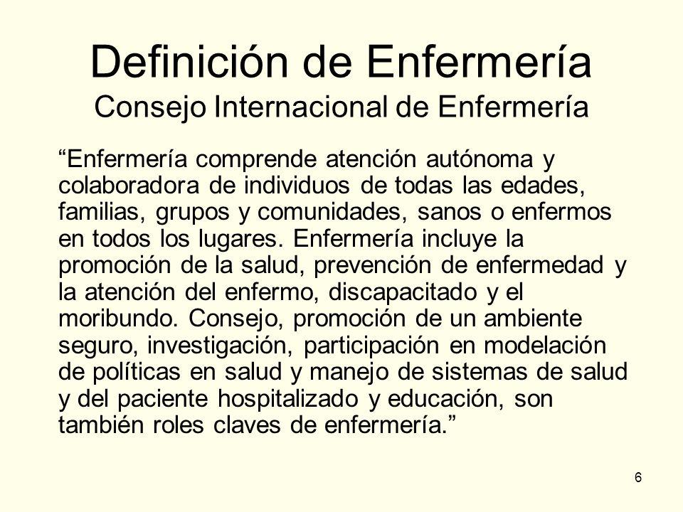 Definición de Enfermería Consejo Internacional de Enfermería