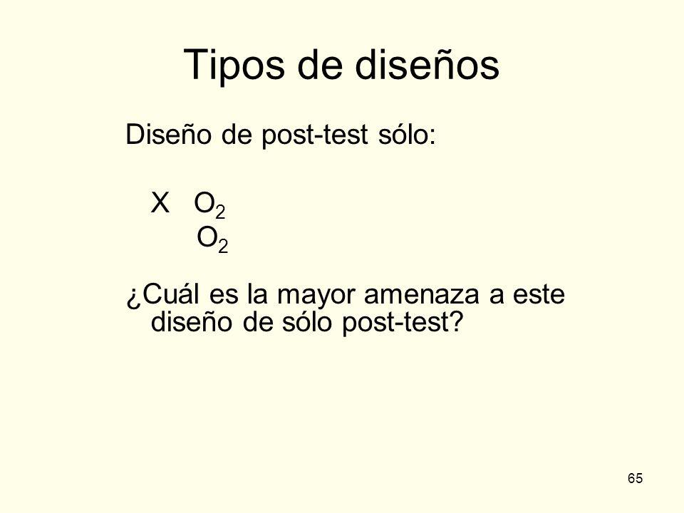 Tipos de diseños Diseño de post-test sólo: X O2 O2