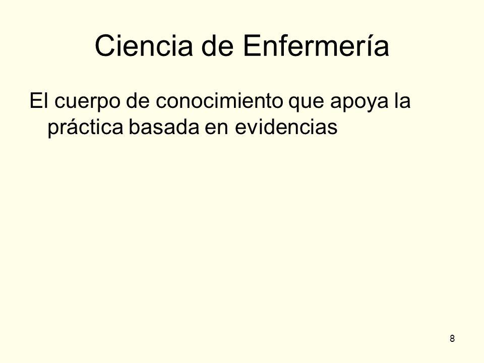 Ciencia de Enfermería El cuerpo de conocimiento que apoya la práctica basada en evidencias