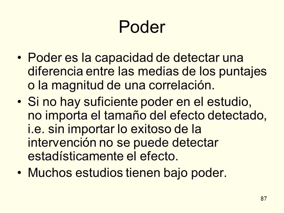 PoderPoder es la capacidad de detectar una diferencia entre las medias de los puntajes o la magnitud de una correlación.