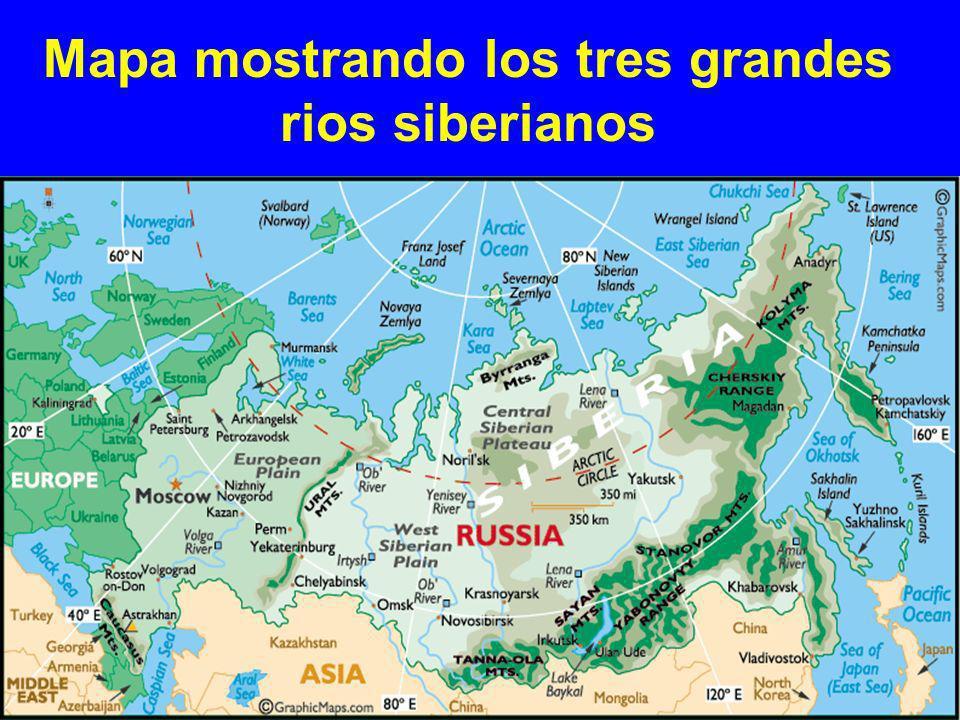 Mapa mostrando los tres grandes rios siberianos