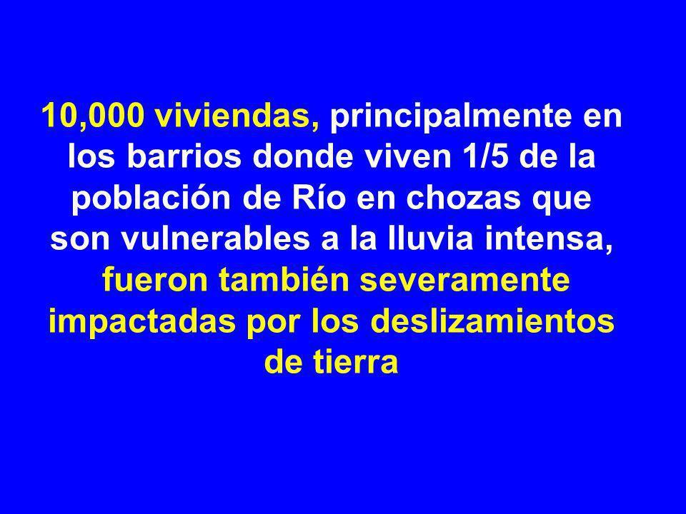 10,000 viviendas, principalmente en los barrios donde viven 1/5 de la población de Río en chozas que son vulnerables a la lluvia intensa, fueron también severamente impactadas por los deslizamientos de tierra