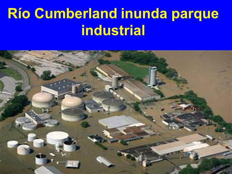 Río Cumberland inunda parque industrial