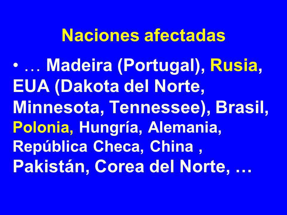 Naciones afectadas