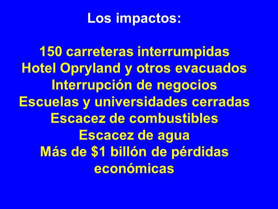 Los impactos: 150 carreteras interrumpidas Hotel Opryland y otros evacuados Interrupción de negocios Escuelas y universidades cerradas Escacez de combustibles Escacez de agua Más de $1 billón de pérdidas económicas