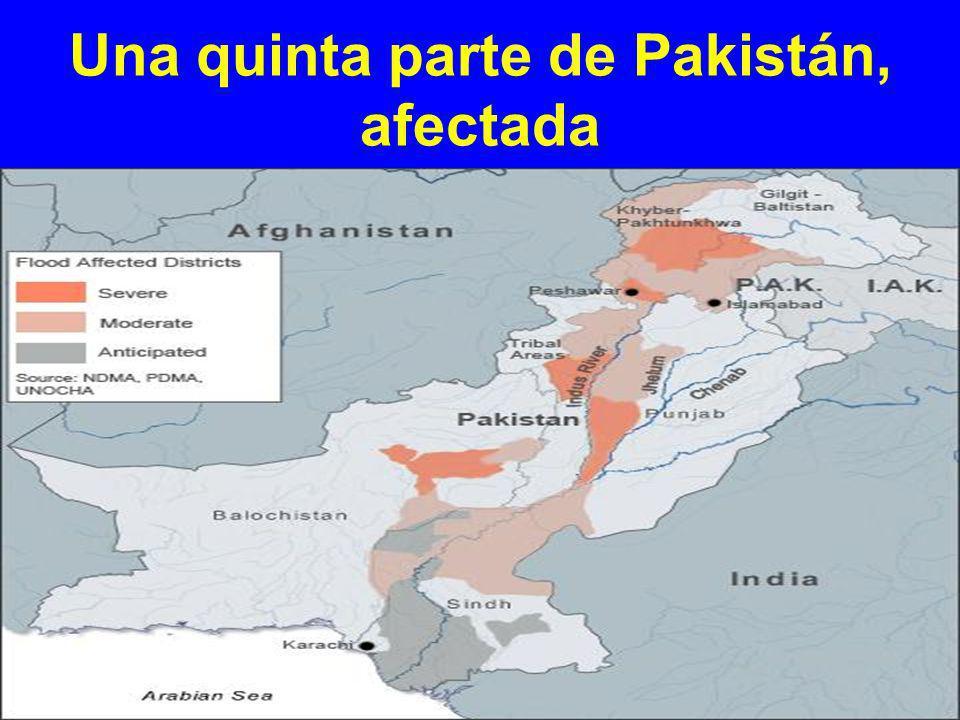 Una quinta parte de Pakistán, afectada