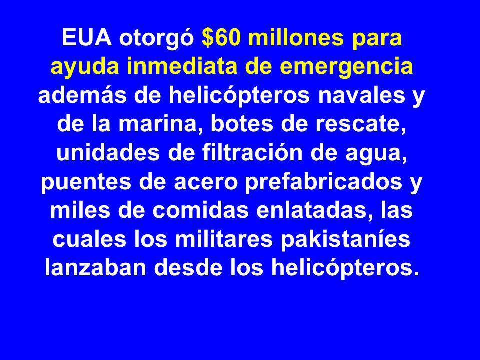 EUA otorgó $60 millones para ayuda inmediata de emergencia además de helicópteros navales y de la marina, botes de rescate, unidades de filtración de agua, puentes de acero prefabricados y miles de comidas enlatadas, las cuales los militares pakistaníes lanzaban desde los helicópteros.