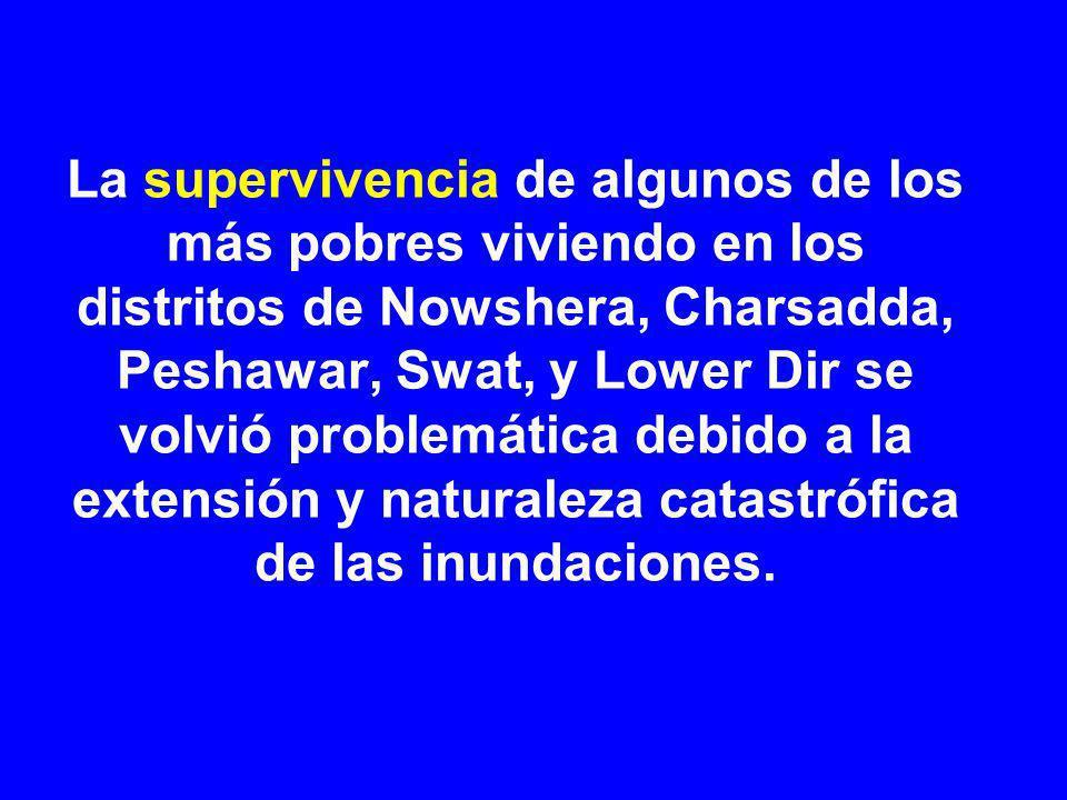 La supervivencia de algunos de los más pobres viviendo en los distritos de Nowshera, Charsadda, Peshawar, Swat, y Lower Dir se volvió problemática debido a la extensión y naturaleza catastrófica de las inundaciones.