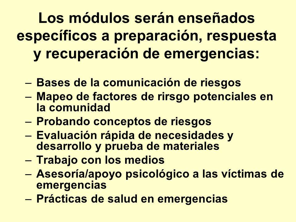 Los módulos serán enseñados específicos a preparación, respuesta y recuperación de emergencias: