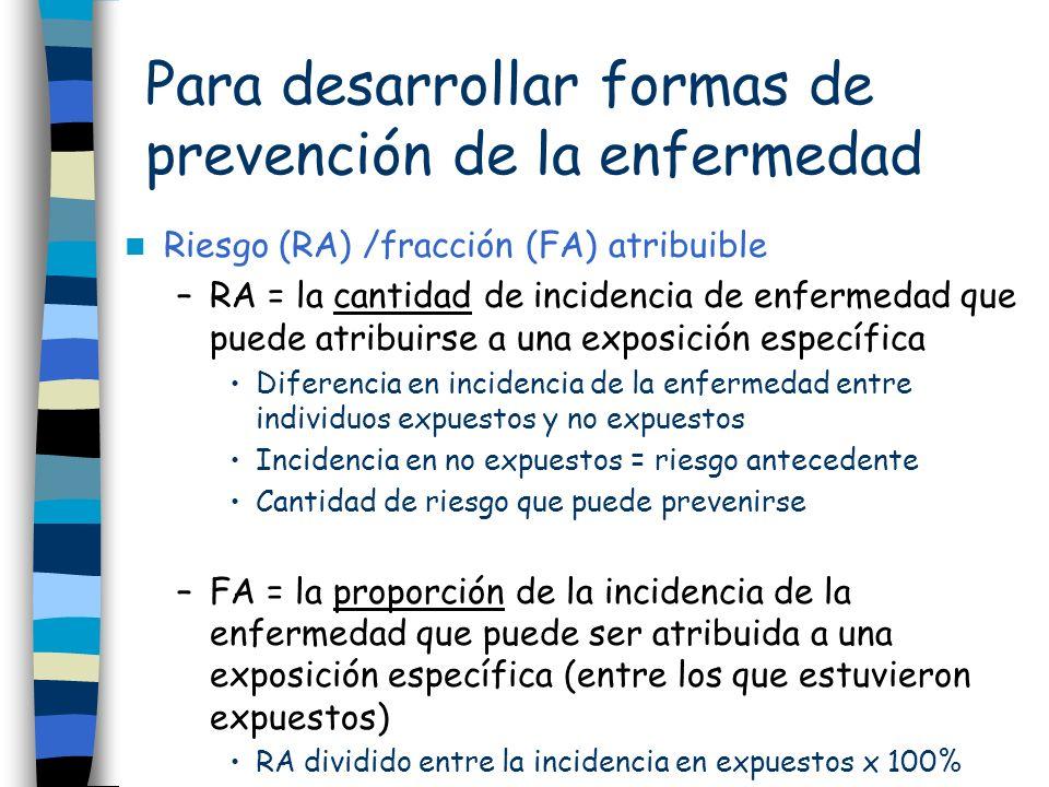 Para desarrollar formas de prevención de la enfermedad