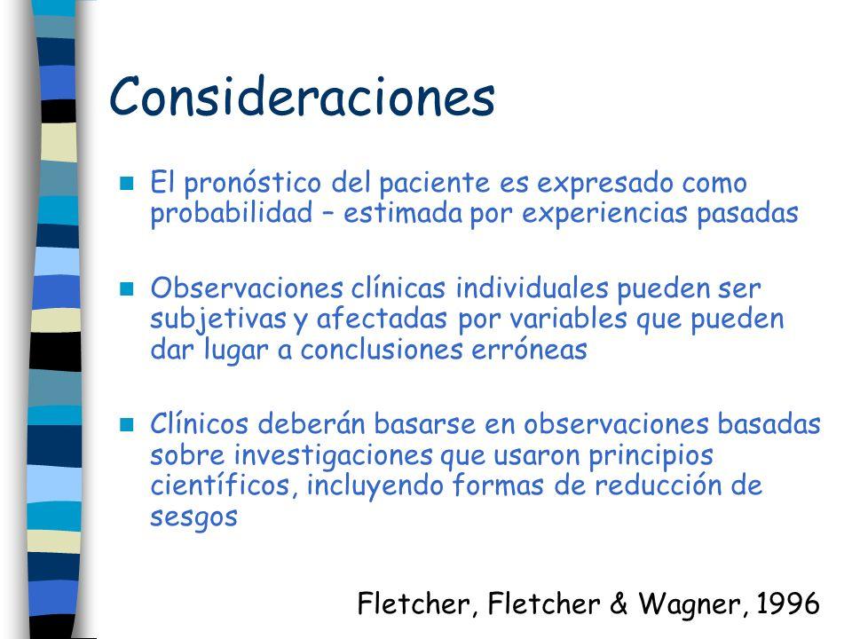 Consideraciones El pronóstico del paciente es expresado como probabilidad – estimada por experiencias pasadas.