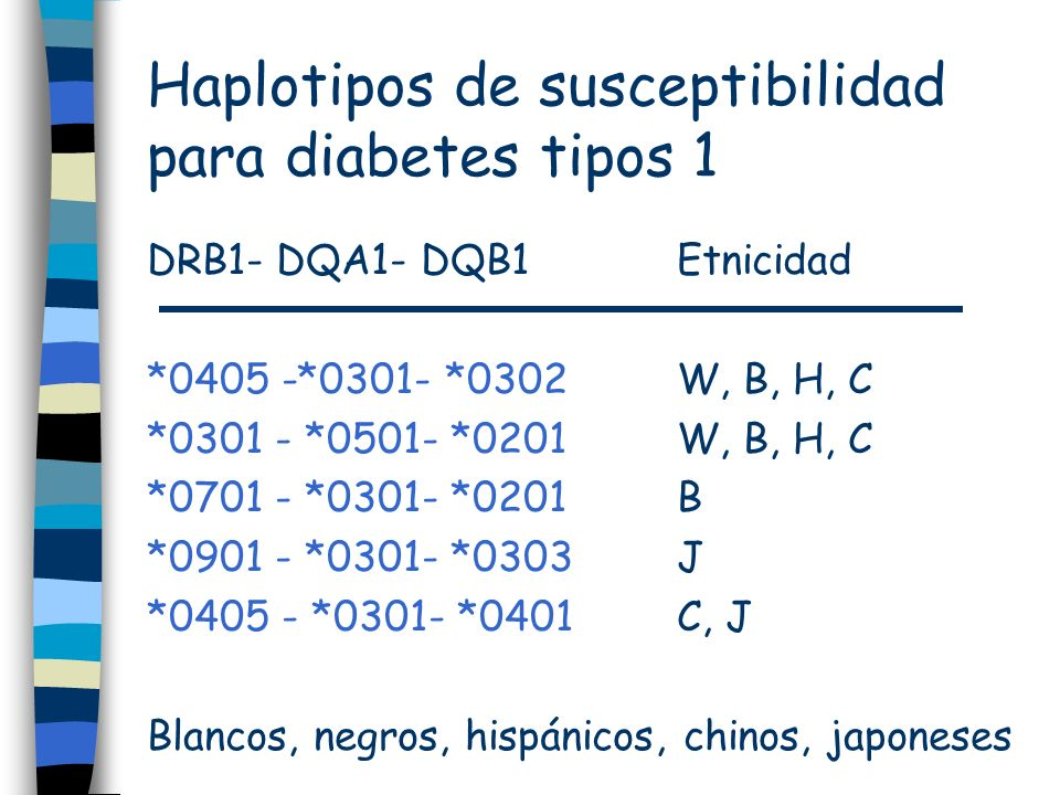 Haplotipos de susceptibilidad para diabetes tipos 1