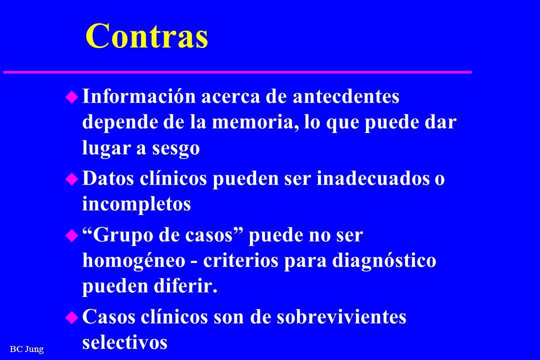 Contras Información acerca de antecdentes depende de la memoria, lo que puede dar lugar a sesgo. Datos clínicos pueden ser inadecuados o incompletos.