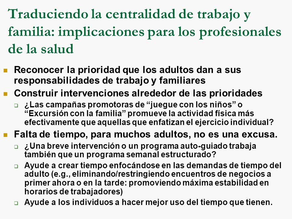 Traduciendo la centralidad de trabajo y familia: implicaciones para los profesionales de la salud