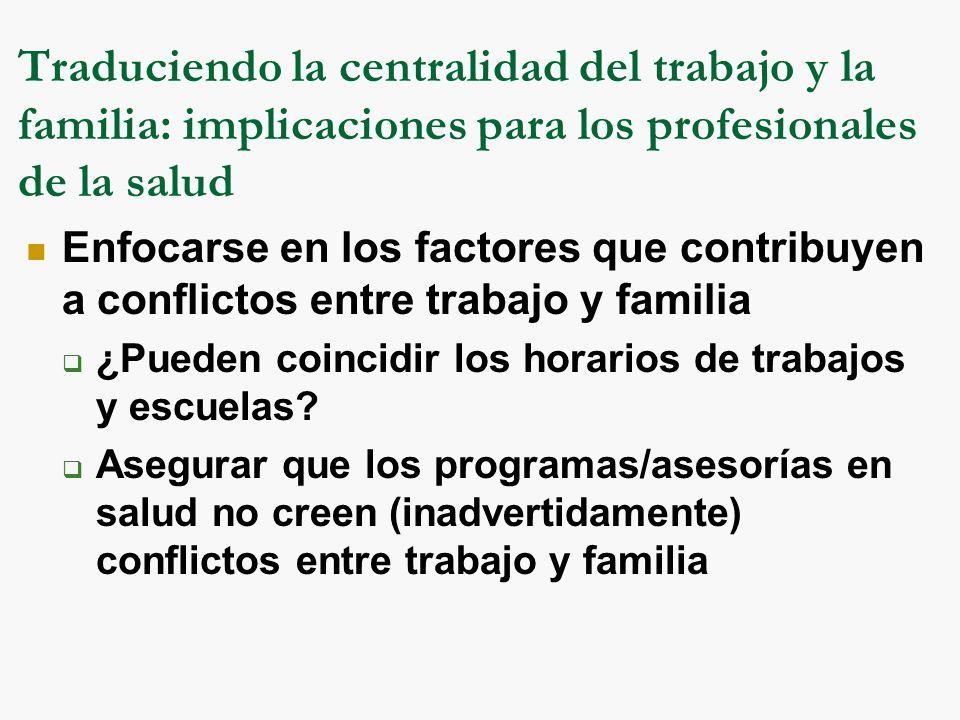 Traduciendo la centralidad del trabajo y la familia: implicaciones para los profesionales de la salud