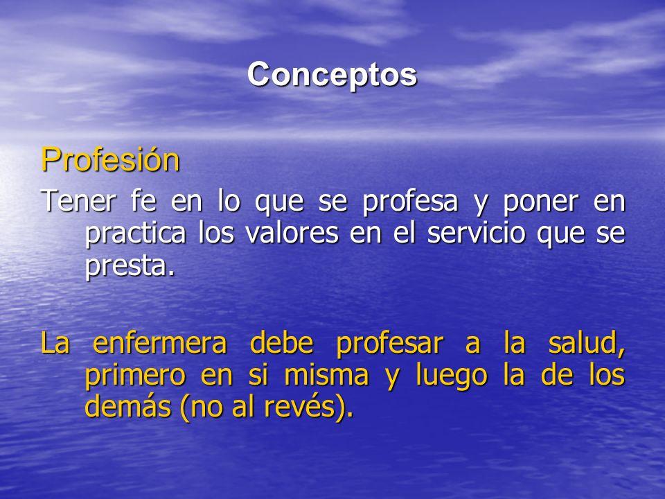 Conceptos Profesión. Tener fe en lo que se profesa y poner en practica los valores en el servicio que se presta.
